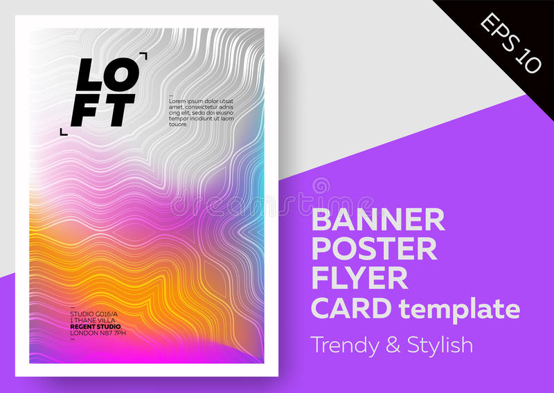 Bright Cover with Trendy Wave Pattern. Colorful Spring Gradient. Template for Poster, Web Banner, Pop-Up, Card, Flyer, Fashion Inv royalty free illustration