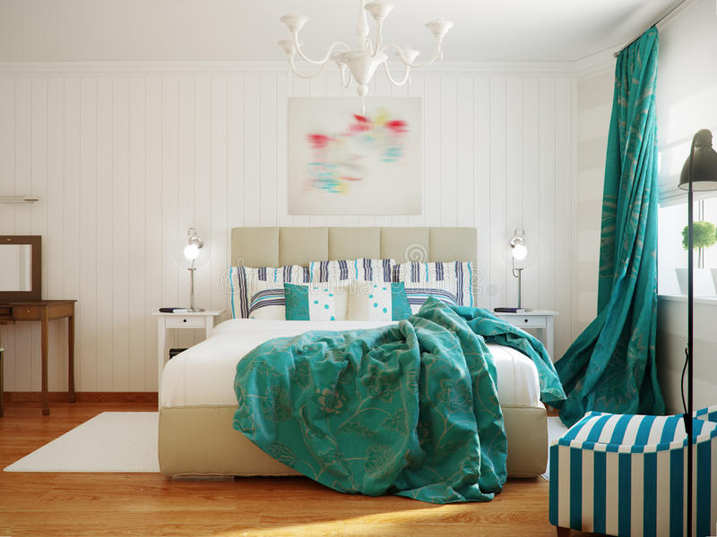 Bright and cozy modern bedroom interior design with white walls, turquoise curtains and blanket. 3d render royalty free stock photos