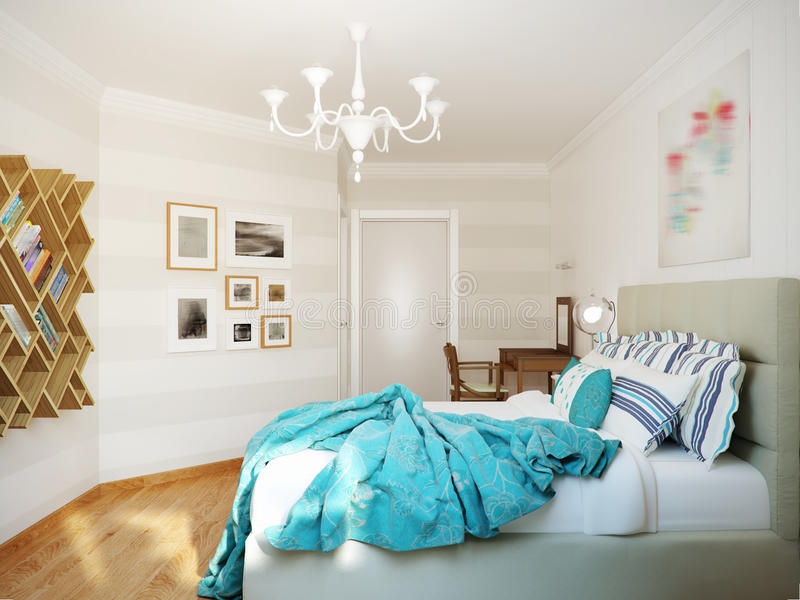 Bright and cozy modern bedroom interior design with white walls, turquoise curtains and blanket. 3d render stock images