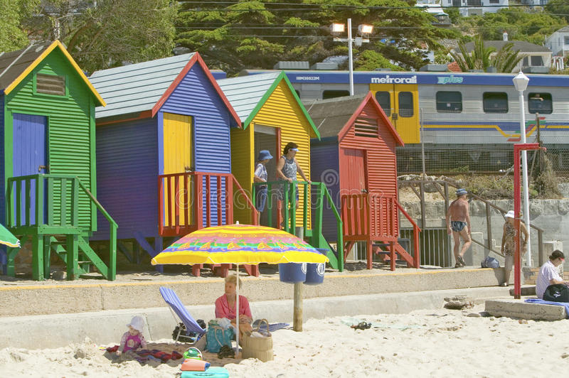 Bright Crayon-Colored Beach Huts at St James, False Bay on Indian Ocean, outside of Cape Town, South Africa stock photos