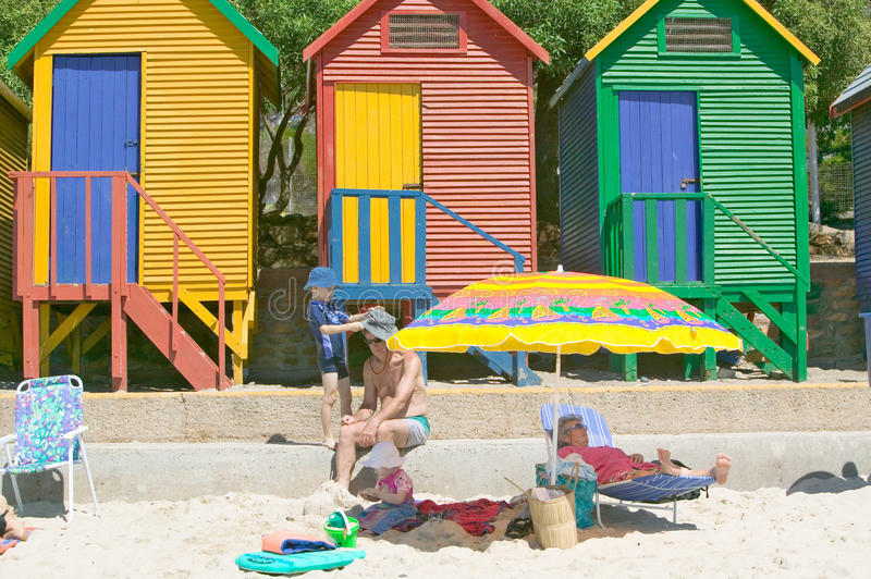 Bright Crayon-Colored Beach Huts at St James, False Bay on Indian Ocean, outside of Cape Town, South Africa stock photo