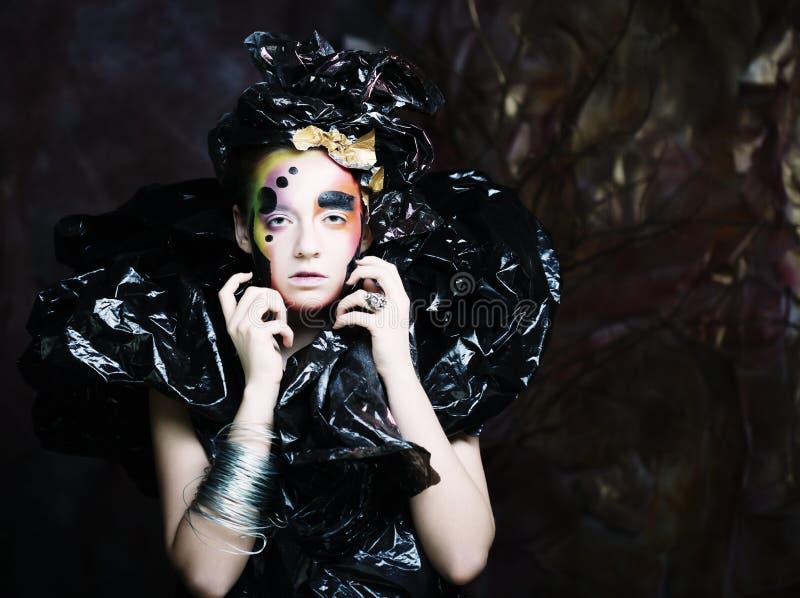 Bright creative Make-up.Beautiful Woman`s Face. Close up royalty free stock image