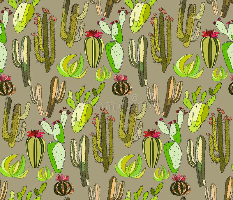 Bright cute beautiful abstract lovely mexican tropical floral herbal summer green set of a cactus paint like child pattern on beig royalty free illustration