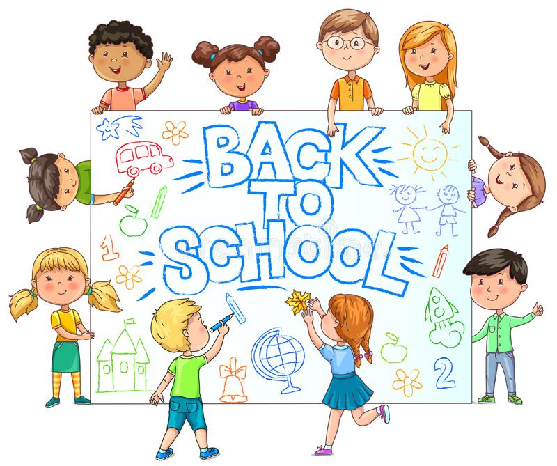 Cute Kids hold banner back to school with painted childrens draw stock illustration