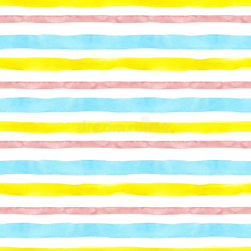Bright cute watercolor seamless pattern with pink, yellow and blue horizontal strips and lines on white background. vector illustration