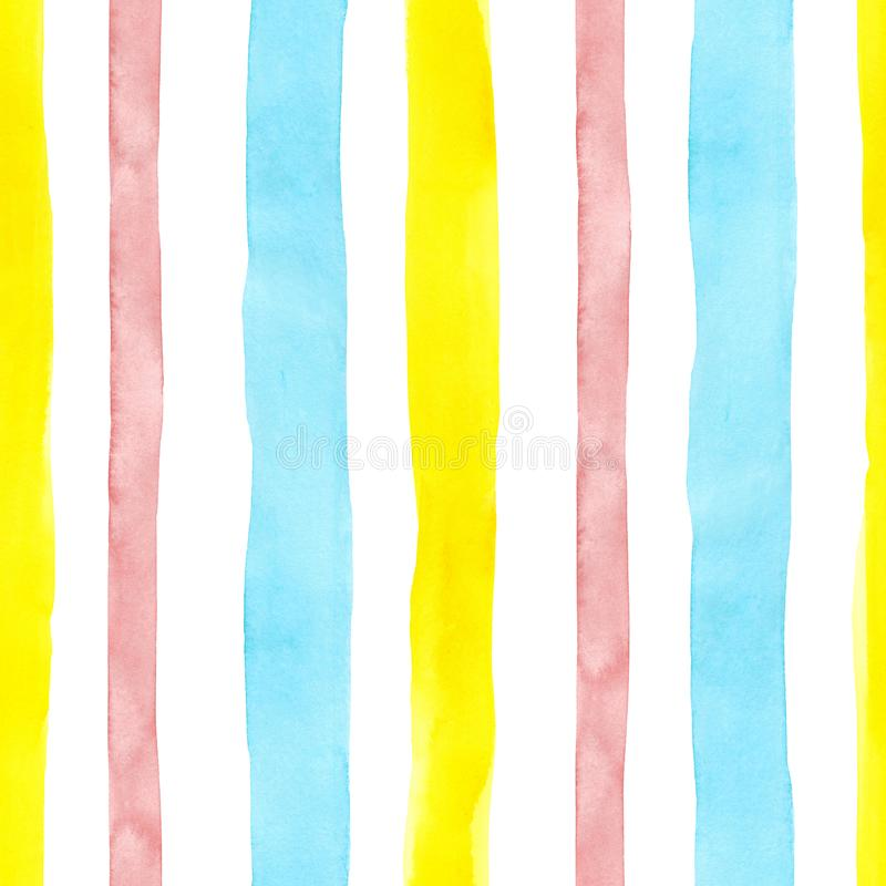 Bright cute watercolor seamless pattern with pink, yellow and blue vertical strips and lines on white background. stock images