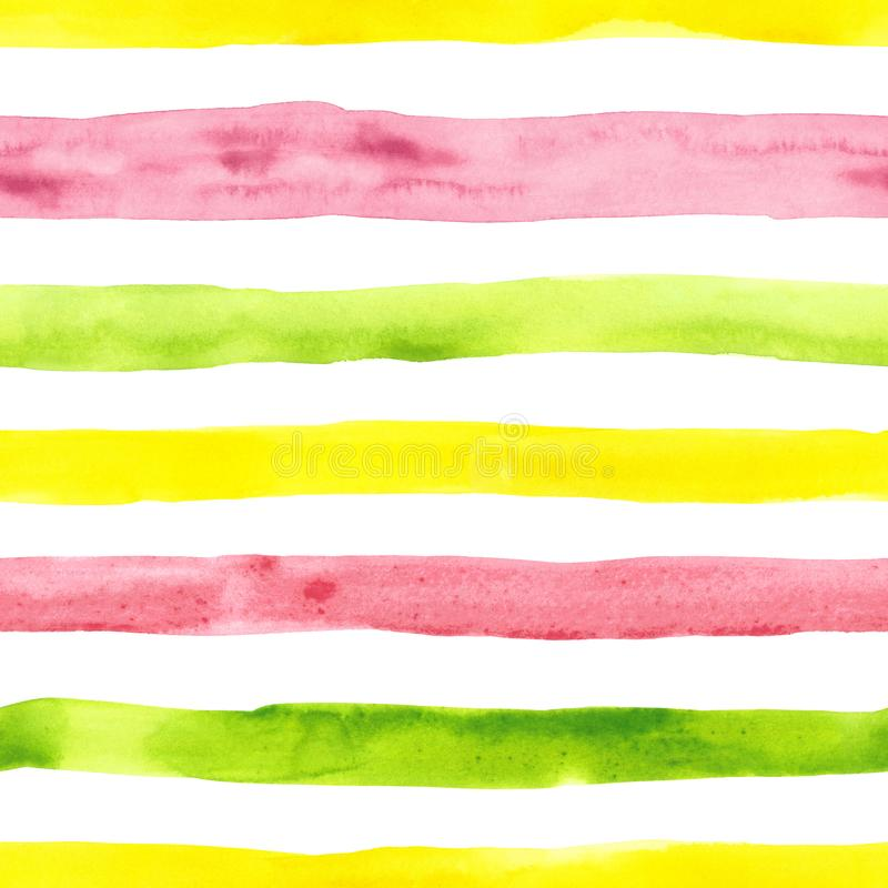 Bright cute watercolor seamless pattern with pink, yellow and green horizontal strips and lines on white background. Striped stock photo