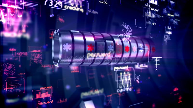 Bright cylinder password in dark backdrop. Stunning 3d illustration of a spinning metallic password forcer with six-angled stars, numbers, words and charts in royalty free illustration