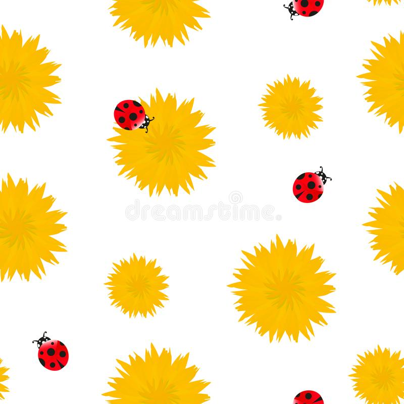 Bright Dandelion yellow flowers with red ladybugs seamless pattern. Spring or summer floral pattern on white background vector illustration