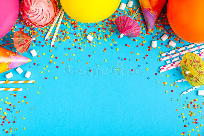 Bright decor for a birthday, party stock images