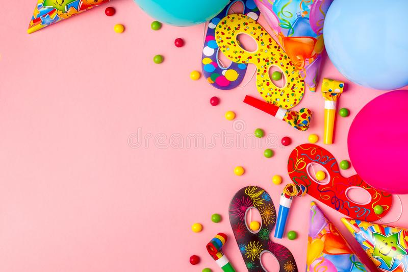 Bright decor for a birthday, party, festival or carnival. Top view stock photography