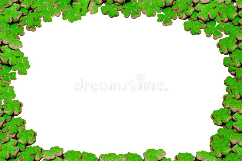 Bright decoration poster clover plant symbol of good luck holiday irish day saint patricks on white background set of biscuits cop royalty free illustration