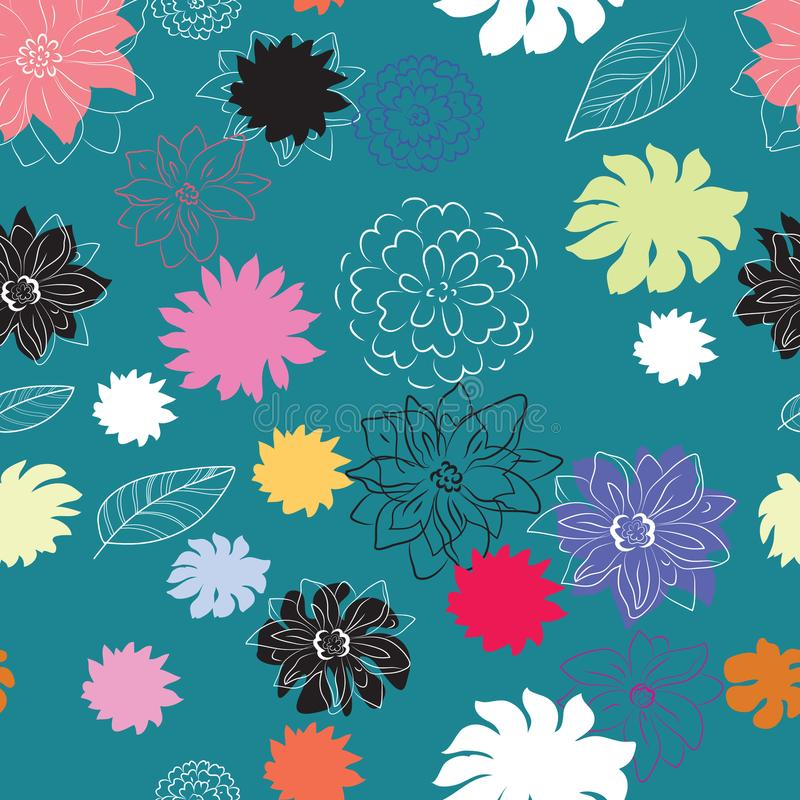 pattern - bright decorative flowers on a turquoise background, seamless pattern stock illustration