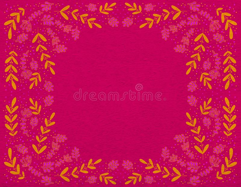 Bright decorative ornament of orange and pink branches on a crimson background. royalty free illustration