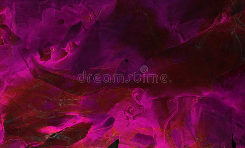 Bright deep dark pink alcohol ink neon abstract on black paper background. Flow liquid watercolor paint splash texture effect. Illustration for card design royalty free illustration