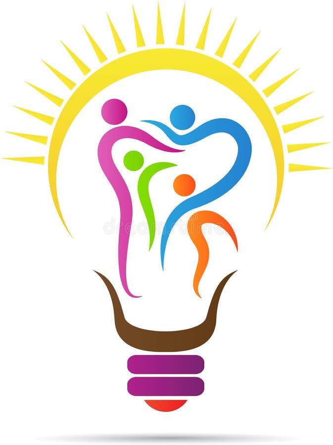 Bright dental family bulb. A vector drawing represents bright dental family care bulb design stock illustration