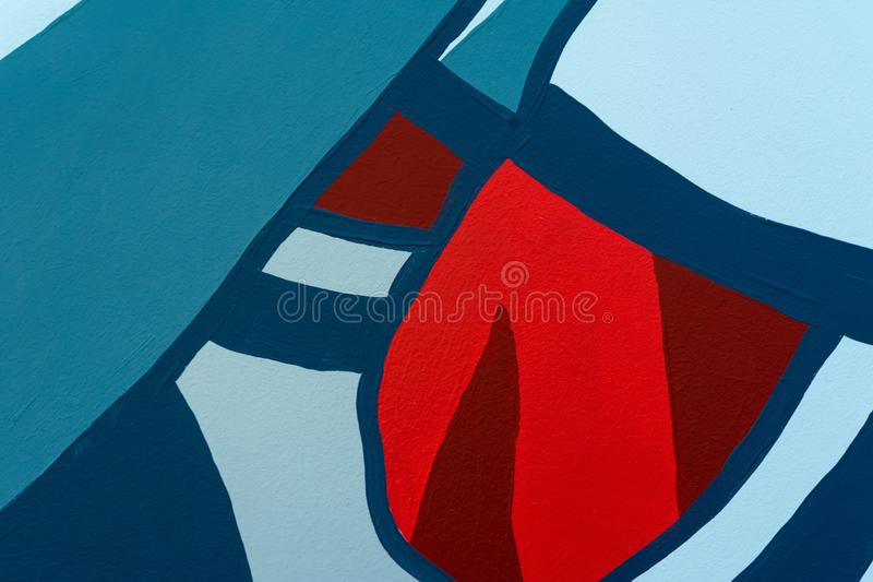 Bright detal of wall is decorated with abstract drawings art close-up. Fragment for background stock image