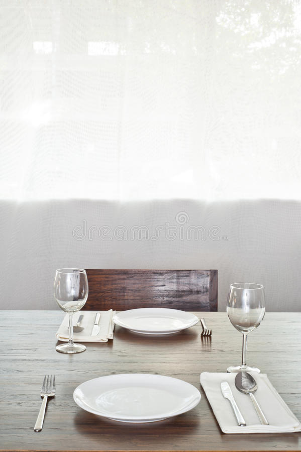 Download Bright Dinner Table Setup For Two Stock Photo   Image Of  Furniture, Home: