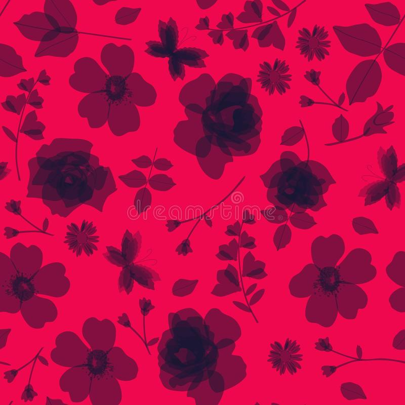 Bright ditsy monochrome floral pattern. Seamless vector background. vector illustration