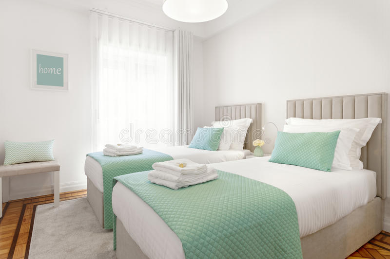 Bright Double Bedroom royalty free stock image