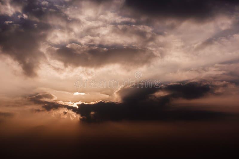 Bright dramatic sky at sunrise royalty free stock photography