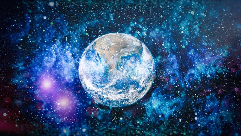 Earth, galaxy and sun. Elements of this image furnished by NASA. Bright Earth - Elements of this Image Furnished by NASA stock photography