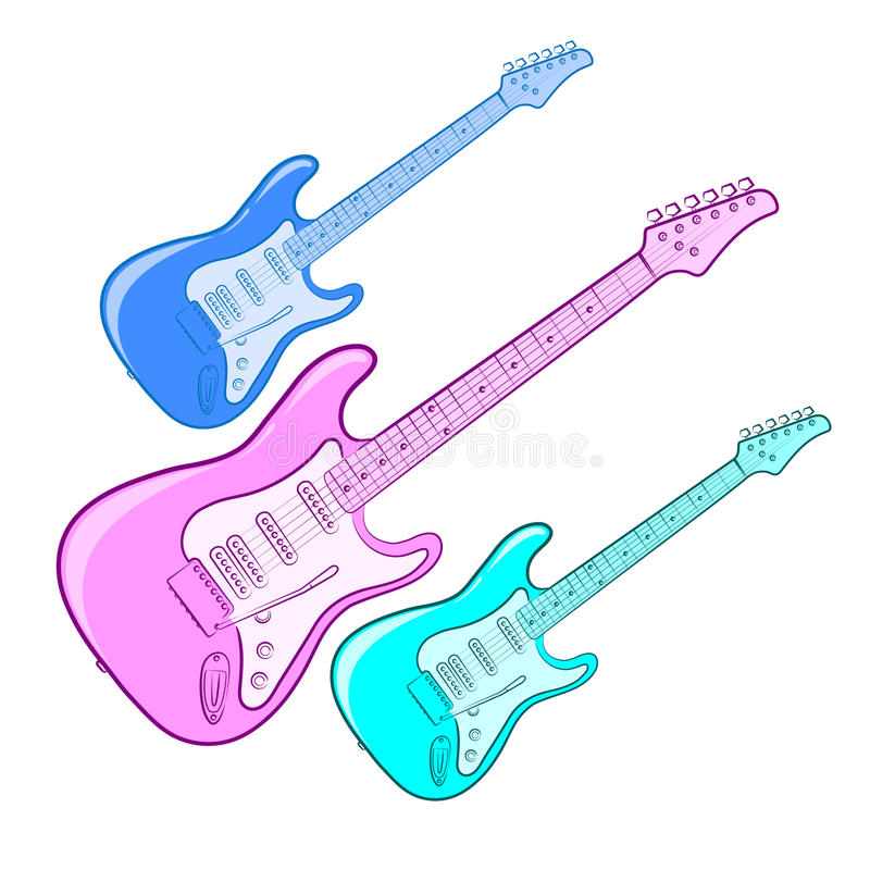 Bright Electric guitar royalty free illustration