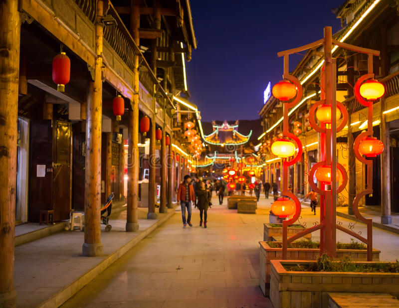 Bright and elegant night streets of China stock photo