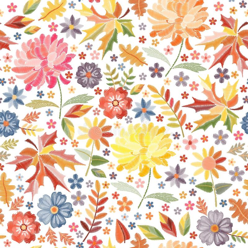 Bright embroidery with autumn flowers and leaves on white background. Colorful seamless pattern with embroidered print royalty free illustration