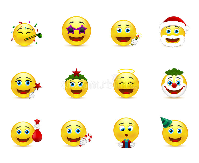 Bright emoticons with holiday attributes. Set of smiley images on a party theme royalty free illustration