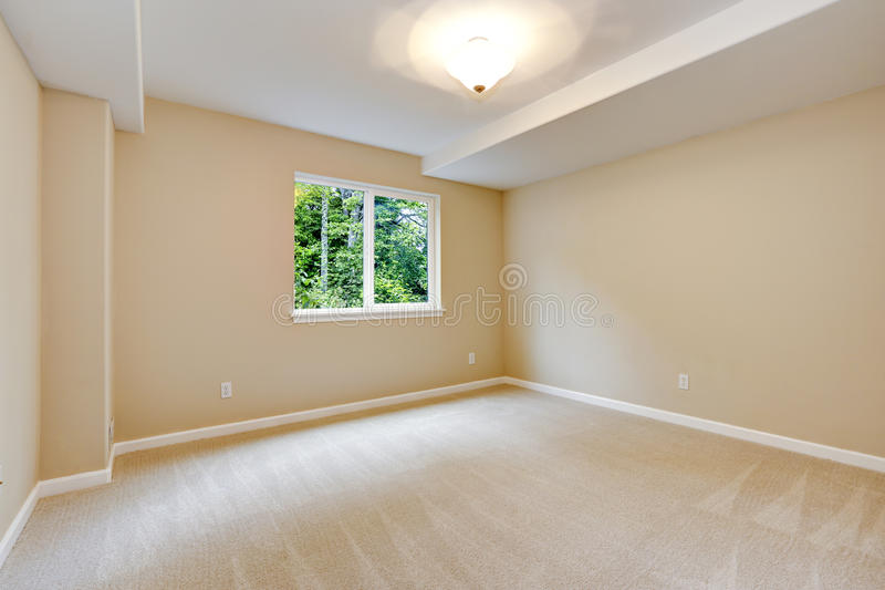 bright empty bedroom in light ivory tone stock photo