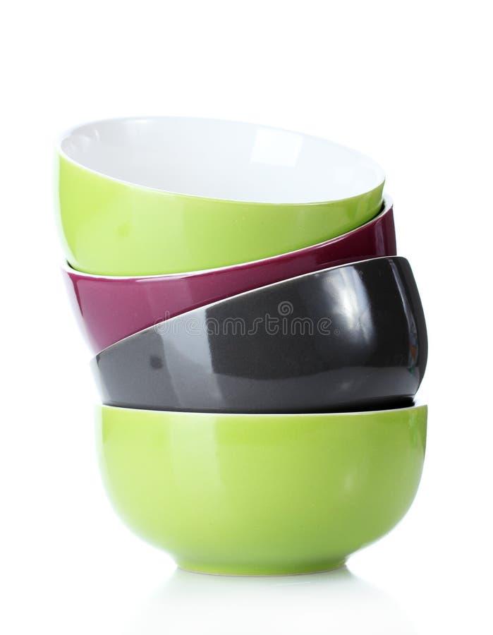 Bright empty bowls stock image