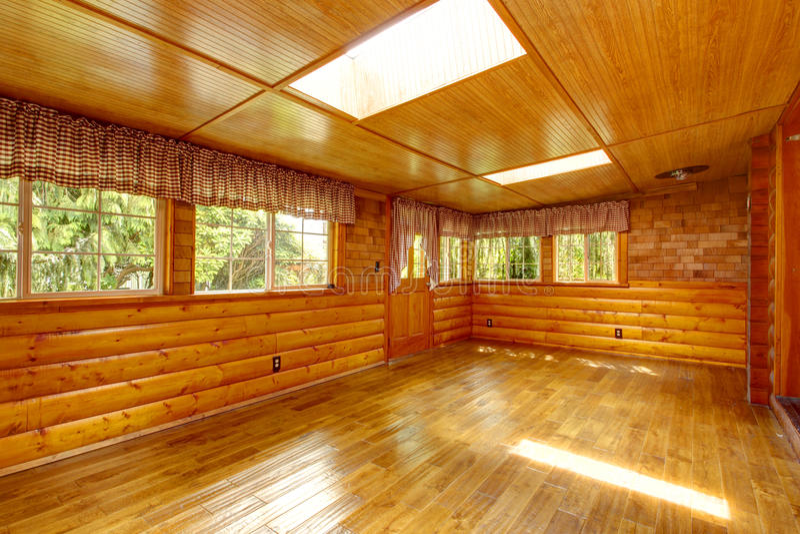 Bright Empty Log Cabin House Interior Skylights Stock