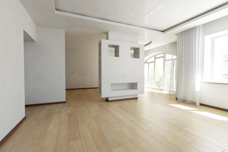 Bright empty room stock photography