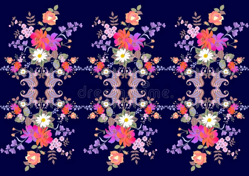 Bright endless floral paisley border in indian style. Bouquets of roses, daisies, bell and cosmos flowers on dark blue background.  stock illustration