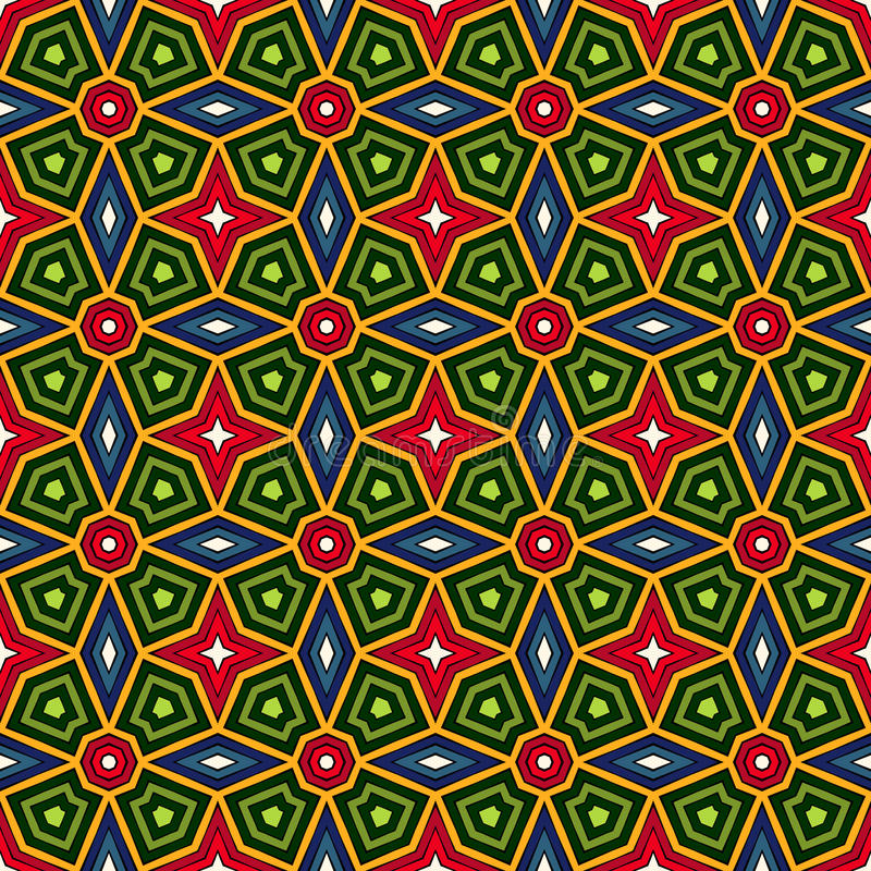 Bright ethnic abstract background. Kaleidoscope seamless pattern with decorative ornament in african style. stock illustration