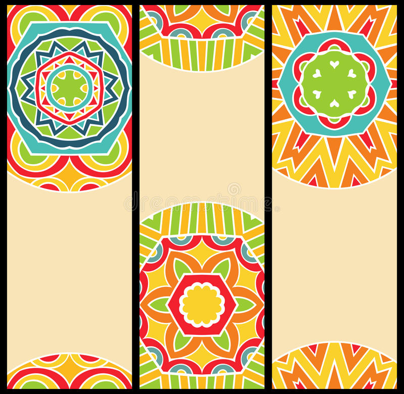Bright Ethnic Patterns at Set of Cards royalty free illustration