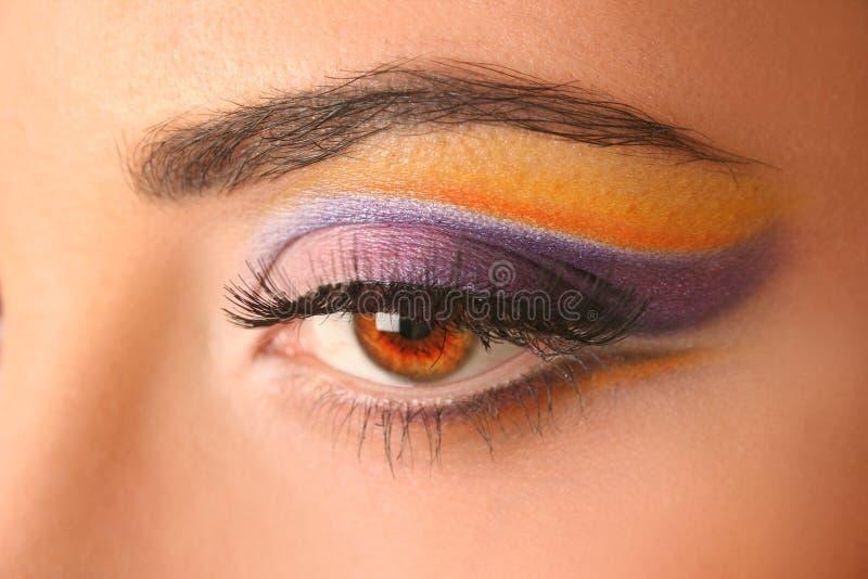 Bright eye. Woman eye with bright beautiful make-up stock image