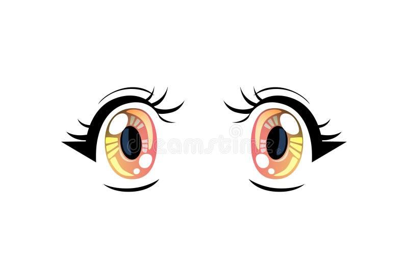 Bright Eyes, Beautiful Colorful Eyes with Light Reflections Manga Japanese Style Vector Illustration. On White Background royalty free illustration