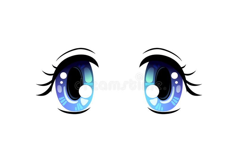 Bright Eyes, Blue Beautiful Eyes with Light Reflections Manga Japanese Style Vector Illustration. On White Background royalty free illustration