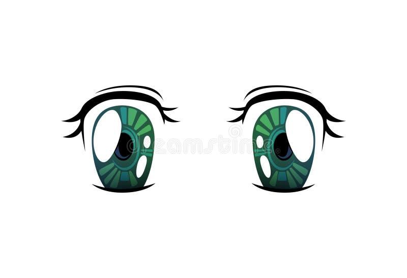 Bright Eyes of Green Cololrs, Beautiful Eyes with Light Reflections Manga Japanese Style Vector Illustration. On White Background stock illustration