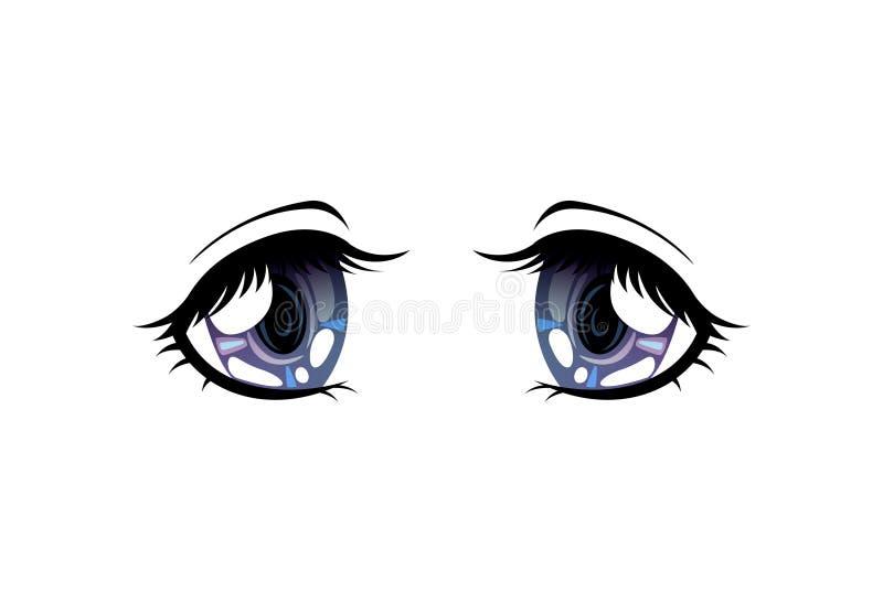 Bright Eyes of Grey Colors, Beautiful Eyes with Light Reflections Manga Japanese Style Vector Illustration. On White Background royalty free illustration