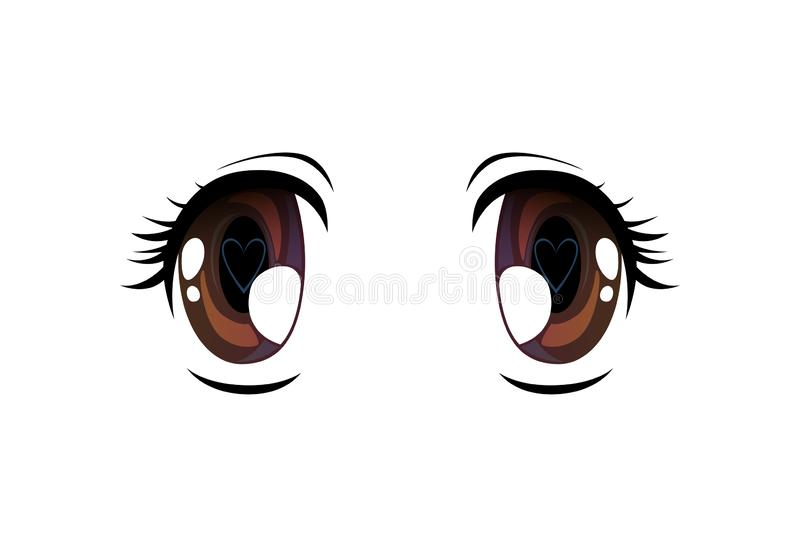 Bright Eyes with Pupil in Shape of Heart, Beautiful Eyes with Light Reflections Manga Japanese Style Vector Illustration. On White Background royalty free illustration