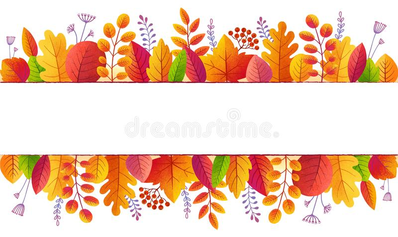 Bright fall colors autumn leaves lines banner background isolated on white.  vector illustration