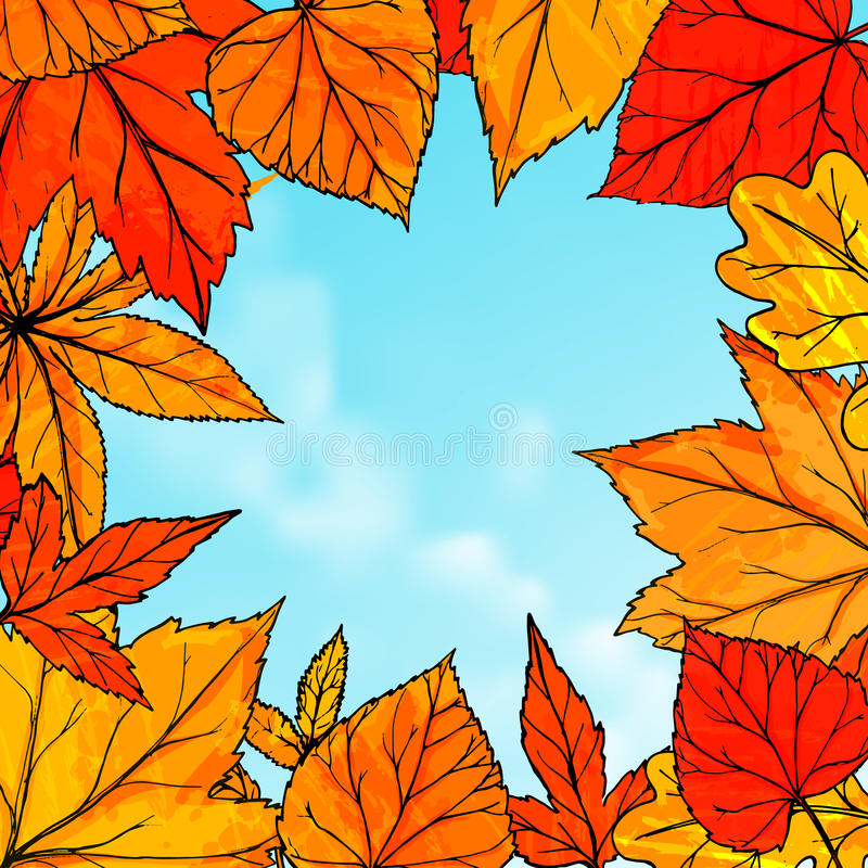 Bright Fall Frame With Orange And Red Leaves. Hello Autumn Banner. Autumn  Background For Advertisement, Greeting Cards And Social Media Content