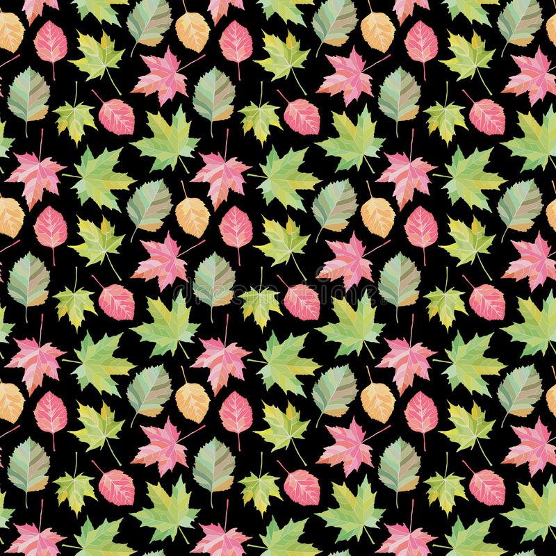 Bright Fall leaves, seamless pattern. Vector illustration and autumn background. In Watercolor style vector illustration