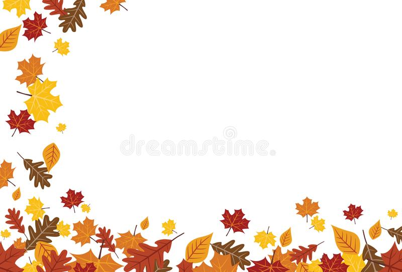 Bright Falling Fall Autumn Leaves Horizontal Border 1.  royalty free illustration