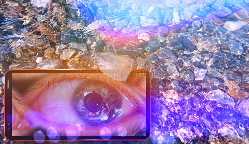 Bright fantasy collage of sunny jellyfish floating in water above Black sea stones and cell phone under water displaying watching stock photography