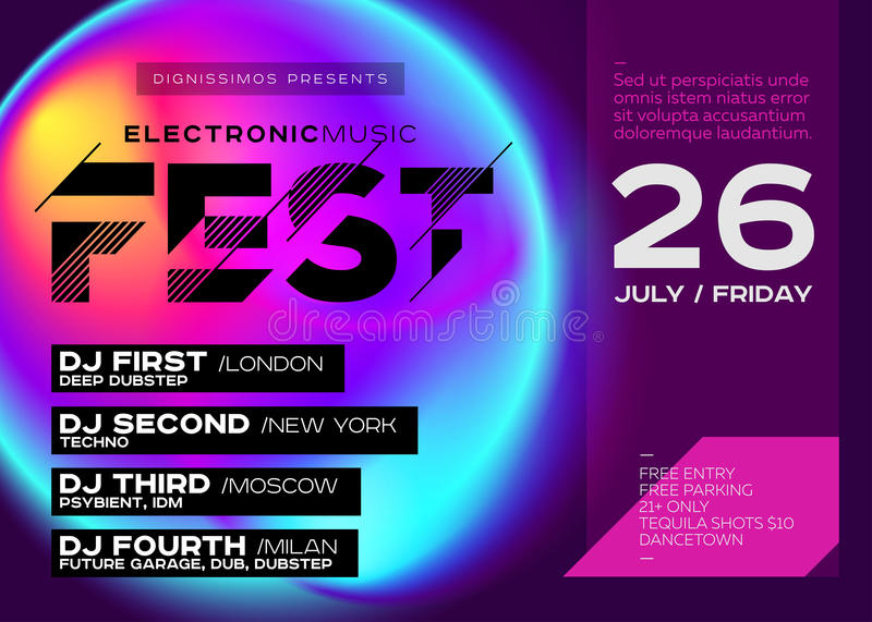 Electronic Music Cover For Summer DJ Fest Or Club Party Flyer. Vibrant  Fluid Background. Creative Colorful Concept. Techno, Dub, Dubstep, Trance,  Psy, ...