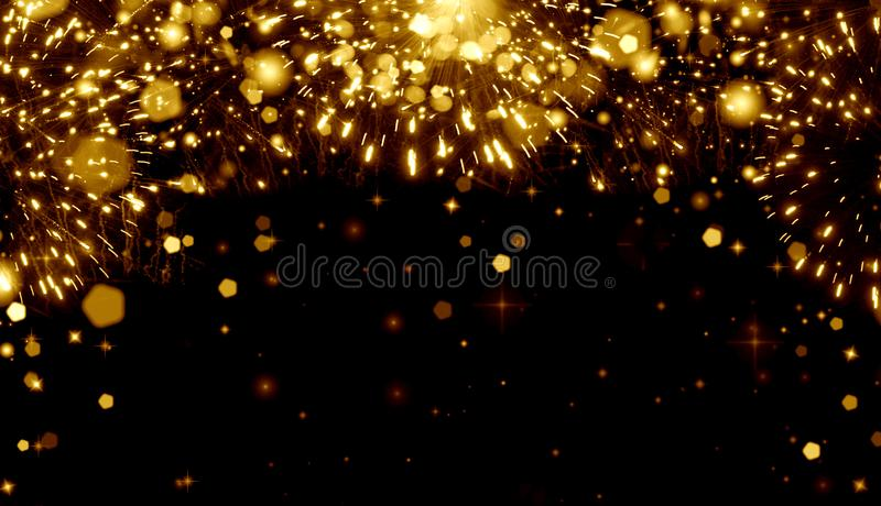 Bright festive background gold, fireworks,holiday,fun,happiness,Christmas,party,birthday,graduation,night,champagne spray,glitter,. Abstract  Art  background stock illustration